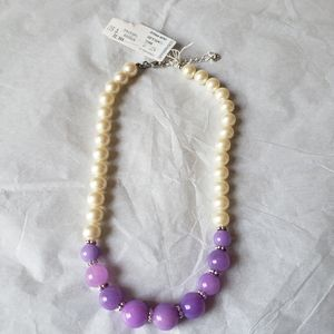 Carolee Vintage Faux Pearl & purple bead Necklace